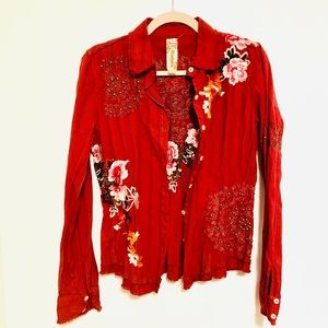 Johnny Was 3J workshop embroidered button up top